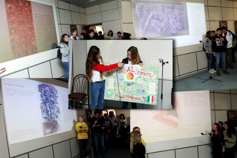 Collage - gli alunni partecipanti mostrano le loro realizzazioni