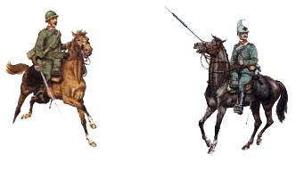 da sx: Cavalleggero del Reggimento l'Aquila (27°); Dragone di Piemonte Reale (2°)